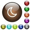 Moon shape color glass buttons - Moon shape white icons on round color glass buttons