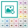 Cancel image operations flat color icons with quadrant frames - Cancel image operations flat color icons with quadrant frames on white background