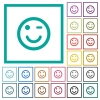Winking emoticon flat color icons with quadrant frames on white background - Winking emoticon flat color icons with quadrant frames