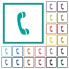 Telephone call symbol flat color icons with quadrant frames - Telephone call symbol flat color icons with quadrant frames on white background