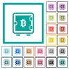 Bitcoin strong box flat color icons with quadrant frames - Bitcoin strong box flat color icons with quadrant frames on white background