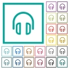 Headset flat color icons with quadrant frames - Headset flat color icons with quadrant frames on white background