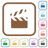 Clapperboard simple icons in color rounded square frames on white background - Clapperboard simple icons