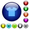 T-shirt color glass buttons - T-shirt icons on round color glass buttons