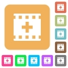 Add new movie rounded square flat icons - Add new movie flat icons on rounded square vivid color backgrounds.