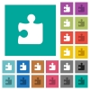 Puzzle square flat multi colored icons - Puzzle multi colored flat icons on plain square backgrounds. Included white and darker icon variations for hover or active effects.