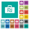 Israeli new Shekel bag square flat multi colored icons - Israeli new Shekel bag multi colored flat icons on plain square backgrounds. Included white and darker icon variations for hover or active effects.