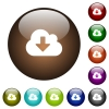Cloud download color glass buttons - Cloud download white icons on round color glass buttons