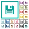 Floppy disk flat color icons with quadrant frames - Floppy disk flat color icons with quadrant frames on white background