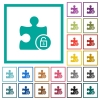 Unlock plugin flat color icons with quadrant frames - Unlock plugin flat color icons with quadrant frames on white background