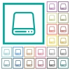 Hard disk drive flat color icons with quadrant frames - Hard disk drive flat color icons with quadrant frames on white background