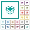 Open box flat color icons with quadrant frames - Open box flat color icons with quadrant frames on white background