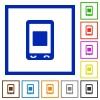 Mobile media stop flat framed icons - Mobile media stop flat color icons in square frames on white background