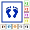 Human Footprints flat framed icons - Human Footprints flat color icons in square frames on white background