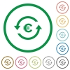Euro pay back flat icons with outlines - Euro pay back flat color icons in round outlines on white background