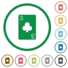 Three of clubs card flat icons with outlines - Three of clubs card flat color icons in round outlines on white background