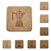 Coffee maker wooden buttons - Coffee maker on rounded square carved wooden button styles