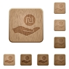 Israeli new Shekel earnings wooden buttons - Israeli new Shekel earnings on rounded square carved wooden button styles