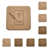Signing Rupee cheque wooden buttons - Signing Rupee cheque on rounded square carved wooden button styles