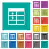 Spreadsheet adjust table row height multi colored flat icons on plain square backgrounds. Included white and darker icon variations for hover or active effects. - Spreadsheet adjust table row height square flat multi colored icons