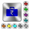Indian Rupee bag rounded square steel buttons - Indian Rupee bag engraved icons on rounded square glossy steel buttons