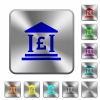 Pound bank office rounded square steel buttons - Pound bank office engraved icons on rounded square glossy steel buttons
