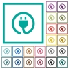 Rolled power cord flat color icons with quadrant frames - Rolled power cord flat color icons with quadrant frames on white background