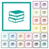 Books flat color icons with quadrant frames - Books flat color icons with quadrant frames on white background