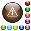 Triangle shaped warning sign color glass buttons - Triangle shaped warning sign white icons on round color glass buttons