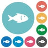 Fish flat round icons - Fish flat white icons on round color backgrounds