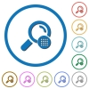 Arrange search results icons with shadows and outlines - Arrange search results flat color vector icons with shadows in round outlines on white background