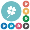 Four leaf clover flat round icons - Four leaf clover flat white icons on round color backgrounds