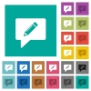 writing comment square flat multi colored icons - writing comment multi colored flat icons on plain square backgrounds. Included white and darker icon variations for hover or active effects.