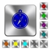 Compass rounded square steel buttons - Compass engraved icons on rounded square glossy steel buttons