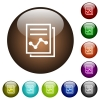 Report with graph color glass buttons - Report with graph white icons on round color glass buttons