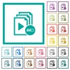Processing playlist flat color icons with quadrant frames - Processing playlist flat color icons with quadrant frames on white background