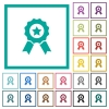 Award with ribbons flat color icons with quadrant frames - Award with ribbons flat color icons with quadrant frames on white background