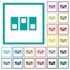 Switchboard flat color icons with quadrant frames - Switchboard flat color icons with quadrant frames on white background