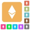 Ethereum digital cryptocurrency rounded square flat icons - Ethereum digital cryptocurrency flat icons on rounded square vivid color backgrounds.