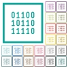 Binary code flat color icons with quadrant frames - Binary code flat color icons with quadrant frames on white background