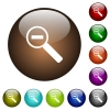 Zoom out color glass buttons - Zoom out white icons on round color glass buttons