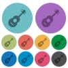 Acoustic guitar color darker flat icons - Acoustic guitar darker flat icons on color round background