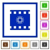 Movie brightness flat framed icons - Movie brightness flat color icons in square frames on white background