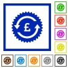 Pound pay back guarantee sticker flat framed icons - Pound pay back guarantee sticker flat color icons in square frames on white background