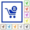 Checkout with Bitcoin cart flat framed icons - Checkout with Bitcoin cart flat color icons in square frames on white background