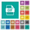 GIF file format square flat multi colored icons - GIF file format multi colored flat icons on plain square backgrounds. Included white and darker icon variations for hover or active effects.
