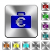 Euro bag rounded square steel buttons - Euro bag engraved icons on rounded square glossy steel buttons