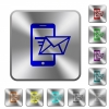 Sending email from mobile phone rounded square steel buttons - Sending email from mobile phone engraved icons on rounded square glossy steel buttons