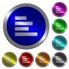 Text align left luminous coin-like round color buttons - Text align left icons on round luminous coin-like color steel buttons