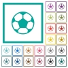 Soccer ball flat color icons with quadrant frames - Soccer ball flat color icons with quadrant frames on white background